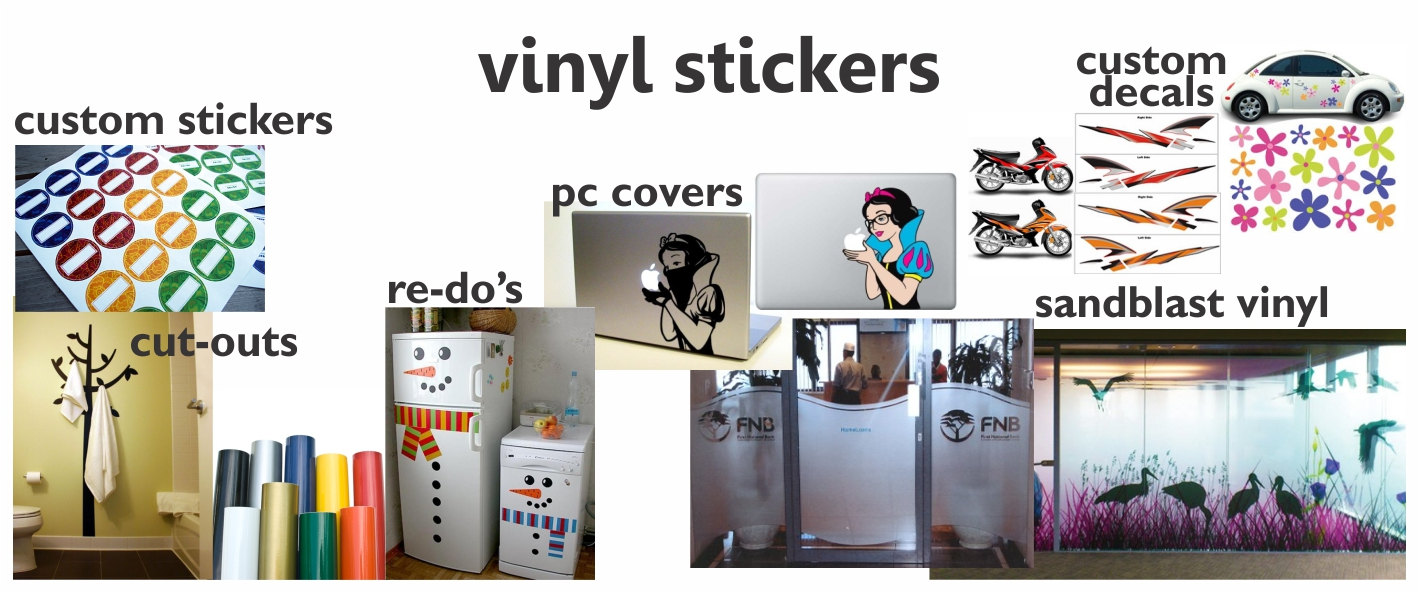 Each vinyl sticker we produce is custom made to the clients requirements we can print any colour shape size and quantity our range of vinyls include